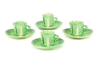 A Set of Four Dodie Thayer Lettuce Ware Cups and Saucers Height of cup 2 3/4 inches.