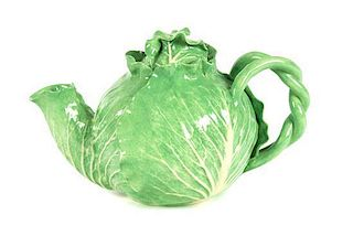 A Dodie Thayer Lettuce Ware Tea Pot Height 7 1/4 inches.
