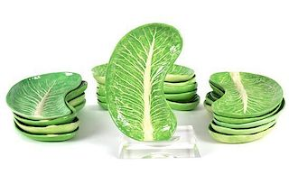 A Set of Fifteen Dodie Thayer Lettuce Ware Salad Plates Length 9 3/4 inches.