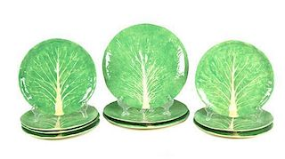 A Set of Ten Dodie Thayer Lettuce Ware Platters Diameter of largest 11 3/4 inches.