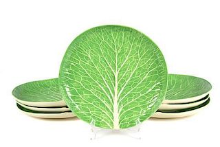 A Set of Seven Dodie Thayer Lettuce Ware Plates Diameter 11 1/2 inches.