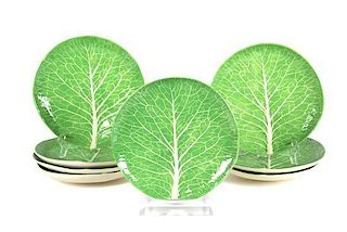 A Set of Eight Dodie Thayer Lettuce Ware Plates Diameter 10 inches.