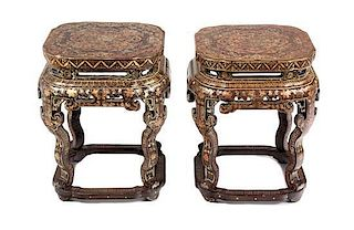 A Pair of Chinese Export Lacquer Tabourets Height 17 3/4 x width 14 1/2 x depth 14 1/2 inches.