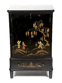 A Chinese Export Black Lacquer Side Cabinet Height 34 3/4 x width 22 x depth 16 1/4 inches.