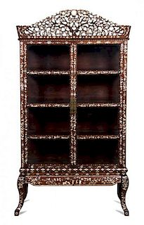 A Chinese Mother-of-Pearl Inlaid Rosewood Vitrine Cabinet Height 80 1/2 x width 44 x depth 16 inches.
