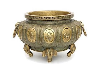 A Chinese Brass Jardinière Height 13 x diameter 19 inches.