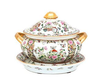 A Chinese Export Famille Rose Porcelain Covered Tureen and Underplate Height 10 1/2 inches.