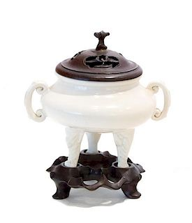 A Chinese Porcelain Incense Burner Height 3 x diameter 3 1/2 inches.