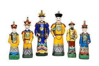 A Group of Six Chinese Export Porcelain Figures Height of tallest 18 1/4 inches.