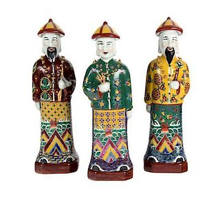 Three Chinese Porcelain Figures Height 13 1/2 inches.