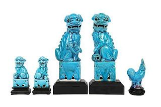 Five Pieces of Chinese Turquoise Glazed Ceramics Height of tallest 10 1/8 inches.