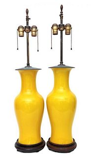 A Pair of Chinese Export Yellow Glaze Baluster Vases Height overall 33 1/2 inches.