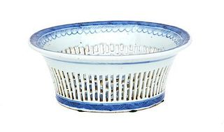 A Chinese Blue and White Canton Reticulated Fruit Basket Height 3 1/4 x width 6 3/4 x depth 8 inches.