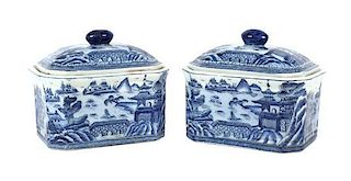 A Pair of Chinese Export Porcelain Covered Boxes Height 7 x width 7 3/4 x depth 6 7/8 inches.