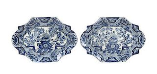 A Pair of Chinese Export Blue and White Shaped Platters Length 13 inches.