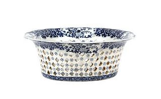 A Chinese Export Blue and White Reticulated Basket Height 5 5/8 x width 12 1/2 inches.