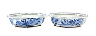 A Pair of Chinese Export Blue and White Porcelain Footed Bowls Width 10 3/4 inches.