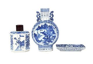 Three Pieces of Chinese Export Blue and White Porcelain Height of tallest 12 1/4 inches.