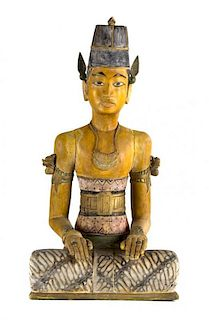 A Pair of Balinese Carved and Painted Wood Figures Height of tallest 29 inches.