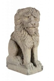 A Carved Sandstone Model of a Lion Height 16 inches.
