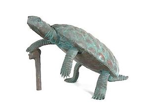 A Bronze Model of a Tortoise Height 11 inches.