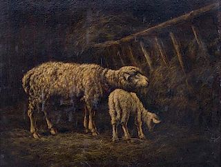 Artist Unknown, (19th century), Two sheep in barn