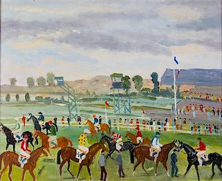 Artist Unknown, (20th century), Course with Jockeys