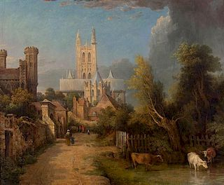 Attributed to George Vincent, (British, 1796-1831), Street Scene with Canterbury Cathedral in Background