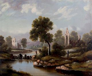 Unknown Artist, (19th century), River Scene with Architectural Ruins