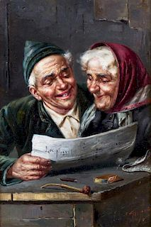 Artist Unknown, (Continental, 19th century), Elderly Couple Reading Paper