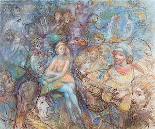 Lucien Philippe Moretti, (French, 1922-2000), Cafe cene with musicians and artist, 1972