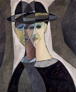 Philippe Marchand, (French, 20th century), Double Portrait of Man in Hat