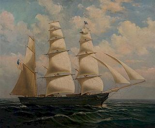 D. Tayler, (American, 20th century), Three Masted Clipper Ship