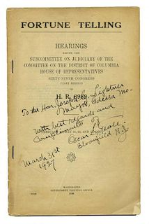 Fortune Telling: Hearings Before the Subcommittee on Judiciary of the Committee on the district of C