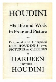 Hardeen (Theodore Weiss). Houdini: His Life and Work in Prose and Picture. N.p., ca. 1940s. Lettered
