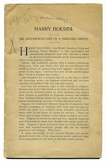 Houdini, Harry. Harry Houdini. The Adventurous Life of a Versatile Artist [caption title]. [New York