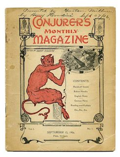 Houdini, Harry. ConjurersН Monthly Magazine Premiere Issue [Signed by Houdini]. New York, Vol. 1 No.