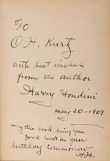 Houdini, Harry. The Unmasking of Robert-Houdin [Signed]. New York, 1908. First Edition. Pictorial br
