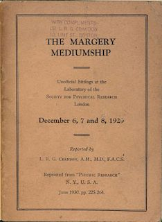 Crandon, L.R.G. The Margery Mediumship. New York, 1930. Brown printed wraps, retained in a modern gr