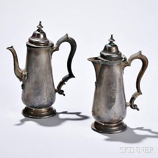 Two Pieces George V Sterling Silver Teaware, London, 1924-25, Goldsmiths & Silversmiths Co. Ltd., maker, coffeepot and hot water jug, e