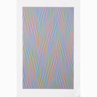 Bridget Riley (b. 1931) Elapse, Screenprint in colors,