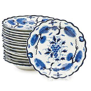 ENGLISH BLUE AND WHITE PORCELAIN PLATES