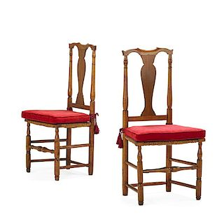 PAIR OF WILLIAM AND MARY STYLE WALNUT SIDE CHAIRS