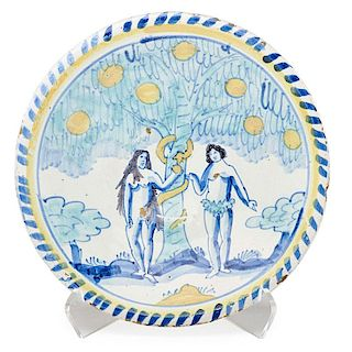 ENGLISH DELFT ADAM AND EVE LOW BOWL