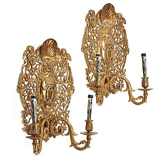 PAIR OF BAROQUE STYLE GILT METAL WALL SCONCES