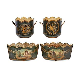 TWO PAIRS OF FRENCH TOLE PLANTERS