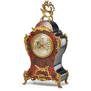 LOUIS XIV STYLE BRASS INLAID MANTLE CLOCK