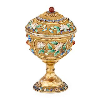 CHINESE VERMEIL LIDDED CHALICE