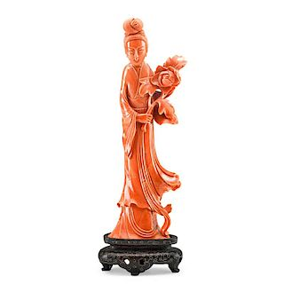 CHINESE CORAL FIGURE