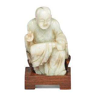CHINESE CARVED JADE LOHAN